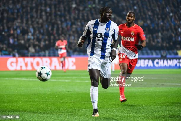 Vincent Aboubakar of Porto and Almamy Toure of Monaco during the Uefa Champions League match between Fc Porto and As Monaco at Estadio do Dragao on...