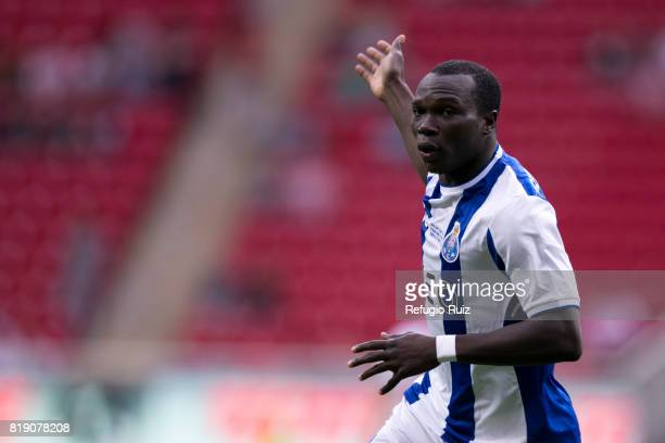 Vincent Aboubakar of Porto celebrates after scoring the firts goal of his team during a the friendly match between Chivas and Porto at Chivas Stadium...