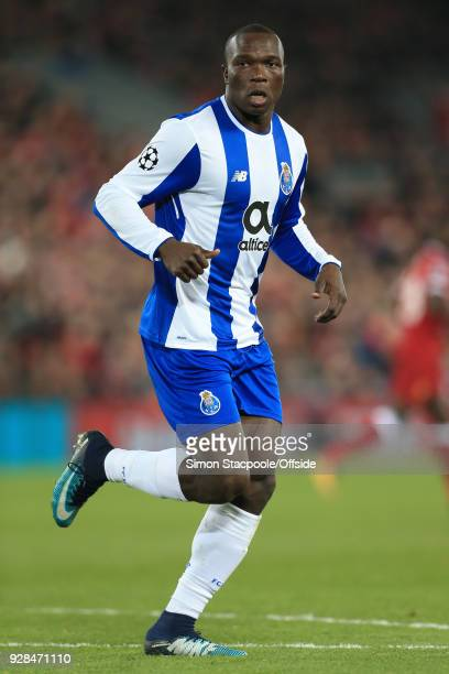 Vincent Aboubakar of Porto in action during the UEFA Champions League Round of 16 Second Leg match between Liverpool and FC Porto at Anfield on March...