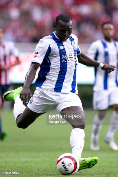 Vincent Aboubakar of Porto kicks the ball during the friendly match between Chivas and Porto at Chivas Stadium on July 19 2017 in Zapopan Mexico