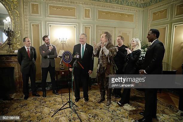 Vincent Alvarez Matthew Morrison Harvey Weinstein Judith Light and Norm Lewis attend as US Senator Charles E Schumer commemorates last week's change...