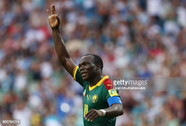 Vincent Aoubakar of Cameroon celebrates scoring his sides first goal during the FIFA Confederations Cup Russia 2017 Group B match between Germany and...