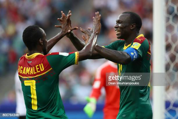 Vincent Aoubakar of Cameroon celebrates scoring his sides first goal with Nicolas Ngamaleu of Cameroon during the FIFA Confederations Cup Russia 2017...