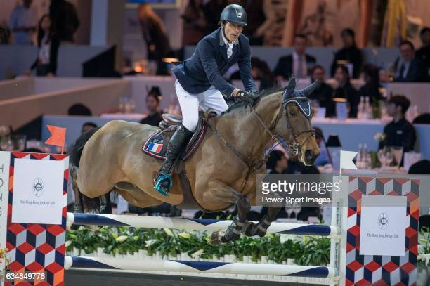 Vincent Bartin of France riding Vintage Sologne competes during the Hong Kong Tatler Trophy part of the Longines Masters of Hong Kong on 12 February...