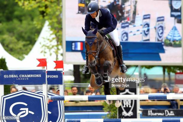 Vincent Bartin riding JACKSON D'OUZO during Prix Laiterie de Montaigu of the Longines Paris Eiffel Jumping on July 1 2017 in Paris France