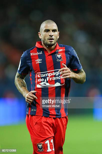 Vincent Bessat of Caen during the Ligue 1 match between SM Caen and Paris Saint Germain at Stade Michel D'Ornano on September 16 2016 in Caen France