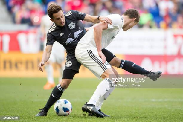 Vincent Bezecourt of New York Red Bulls challenged by Grant Lillard of Chicago Fire during the New York Red Bulls Vs Chicago Fire MLS regular season...