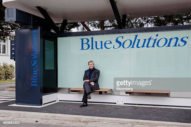 Vincent Bollore billionaire and chairman of the Bollore Group poses for a photo at a Blue Solutions' Bluetram station at the Autolib' carsharing...