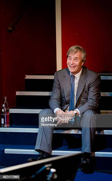 Vincent Bollore billionaire and chairman of the Bollore Group reacts as he attends an Autolib carsharing scheme news conference in Paris France on...