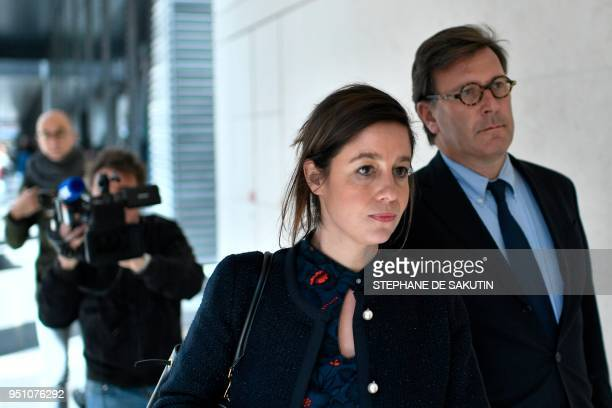Vincent Bollore's lawyers Olivier Baratelli and Celine Astolfe is seen at the anticorruption police office in Nanterre western suburbs of Paris on...