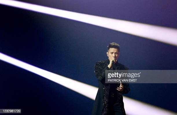 Vincent Bueno from Austria performs with the song Amen during the first dress rehearsal of the second semi-final of the Eurovision Song Contest on...