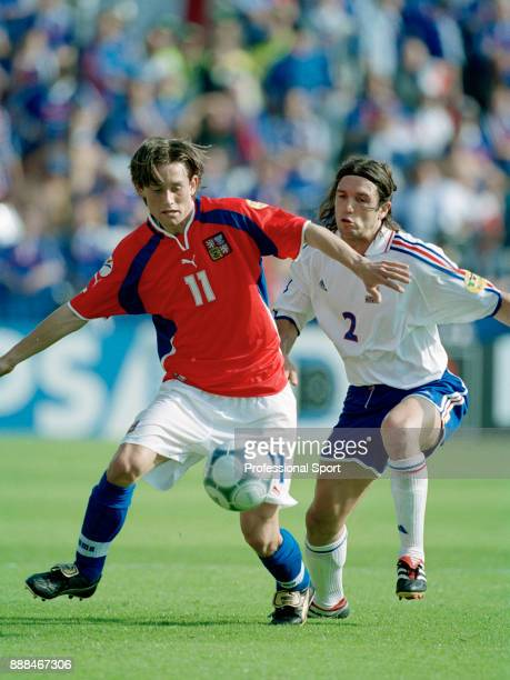 Vincent Candela of France tracks Tomas Rosicky of the Czech Republic during a UEFA Euro 2000 group match at the Jan Breydel Stadium on June 16 2000...
