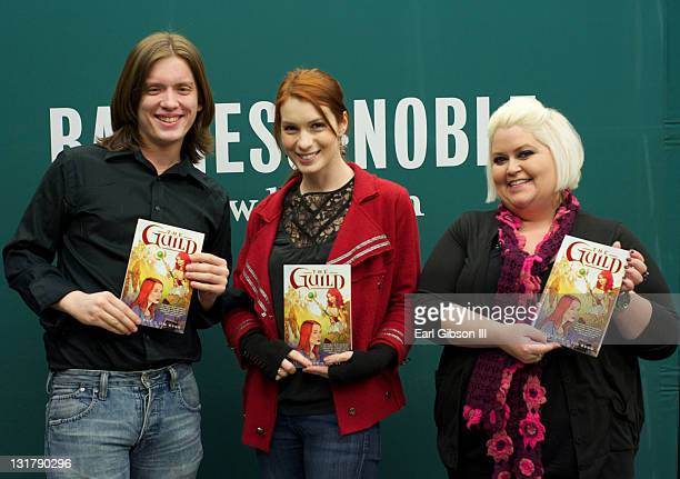 Vincent Caso, Felicia Day and Robin Thorsen appear at Barnes & Noble bookstore at The Grove on February 22, 2011 in Los Angeles, California.
