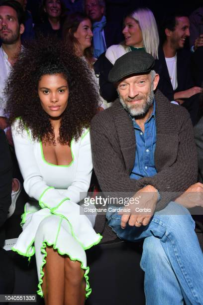 Vincent Cassel and his wife Tina Kunakey attend the ETAM show as part of the Paris Fashion Week Womenswear Spring/Summer 2019 on September 25 2018 in...