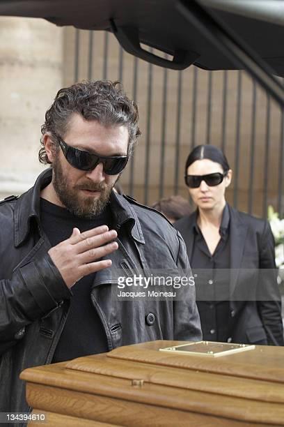 Vincent Cassel and Monica Bellucci during Jean-Pierre Cassel Funeral at St Eustache Church of Paris in Paris, France.