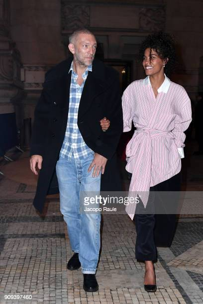 Vincent Cassel and Tina Kunakey are seen leaving Alexandre Vauthier fashion show during the Paris Fashion Week Haute Couture Spring/Summer 2018 on...