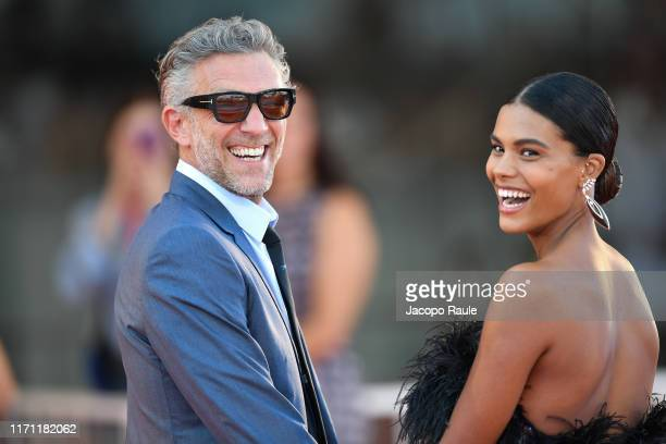 Vincent Cassel and Tina Kunakey attend J'Accuse premiere during the 76th Venice Film Festival at Sala Grande on August 30 2019 in Venice Italy