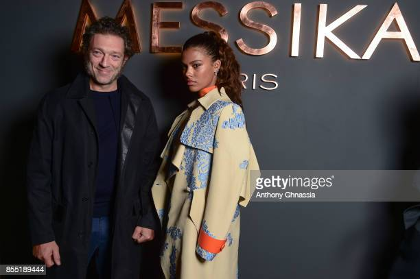 Vincent Cassel and Tina Kunakey attend Messika cocktail as part of the Paris Fashion Week Womenswear Spring/Summer 2018 on September 27 2017 in Paris...
