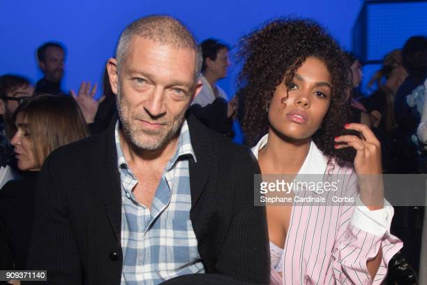 Vincent Cassel and Tina Kunakey attend the Alexandre Vauthier Haute Couture Spring Summer 2018 show as part of Paris Fashion Week January 23 2018 in...