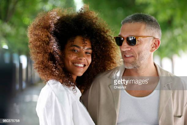 Vincent Cassel and Tina Kunakey attend the Louis Vuitton Menswear Spring/Summer 2019 show as part of Paris Fashion Week on June 21 2018 in Paris...