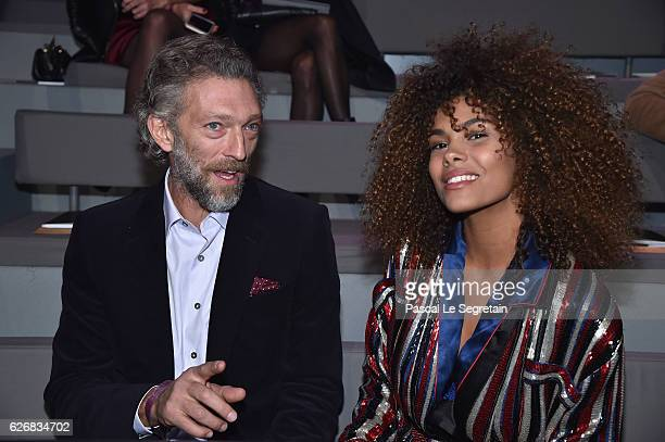 Vincent Cassel and Tina Kunakey attend the Victoria's Secret Fashion Show on November 30 2016 in Paris France