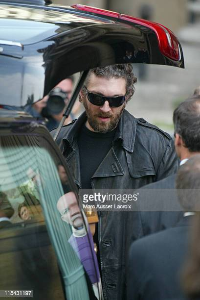 Vincent Cassel arrives at the funeral service of his father French actor JeanPierre Cassel at SaintEustache church in Paris France