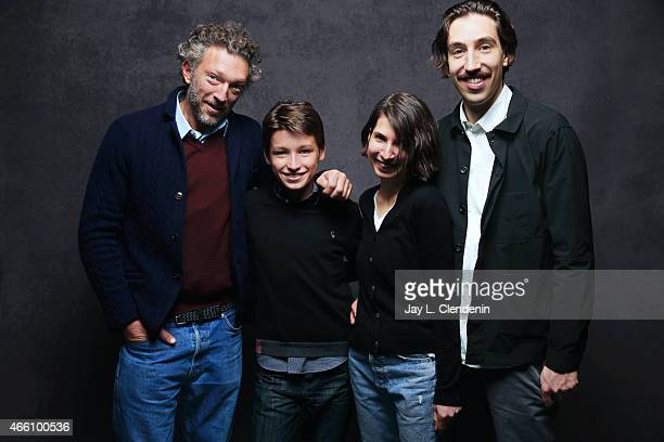 Vincent Cassel Jeremy Chabriel Sarah Cyngler and Ariel Kleiman from the film 'Partisan' pose for a portrait for the Los Angeles Times at the 2015...