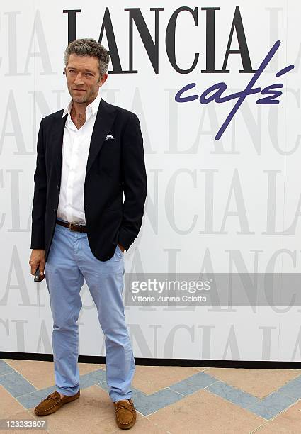 Vincent Cassel poses for photographers during the 68th Venice film festival at Lancia Cafe on September 1 2011 in Venice Italy