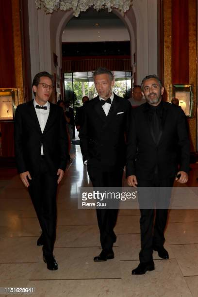 Vincent Cassel Reda Kateb and Eric Toledano are seen at Le majestic hotel during the 72nd annual Cannes Film Festival at on May 25 2019 in Cannes...
