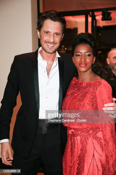 Vincent Cerruti and Hapsatou Sy arrive at the Cesar Film Awards 2020 Ceremony At Salle Pleyel In Paris on February 28, 2020 in Paris, France.