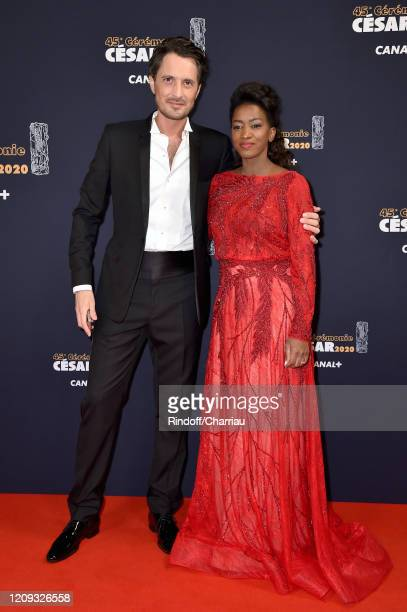 Vincent Cerutti and Hapsatou Sy arrive at the Cesar Film Awards 2020 Ceremony At Salle Pleyel In Paris on February 28, 2020 in Paris, France.