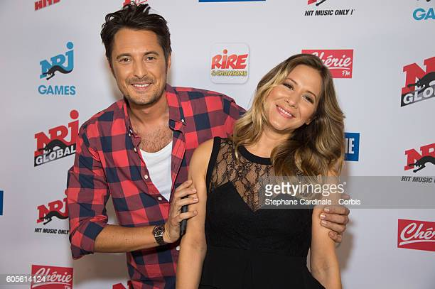 Vincent Cerutti and Stephanie Loire pose at the Photocall of NRJ Group at Musee du Quai Branly on September 14 2016 in Paris France