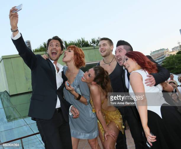 Vincent Cerutti takes a selfie with Fauve Hautot YannAlrick Silvia Notargiacomo Jaclyn Spencer Chris Marques and Sandrine Quetier after they...