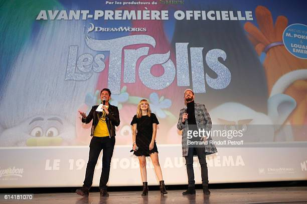 """Vincent Cerutti with French voices of the movie, Louane Emera and Matt Pokora present """"Les Trolls"""" Paris Premiere at Le Grand Rex on October 12, 2016..."""