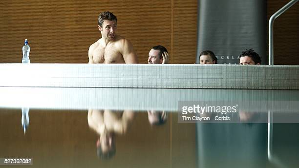 Vincent Clerc France and team mate Dimitri Yachvili during a recovery session in a hotel swimming complex Auckland in preparation for the IRB Rugby...