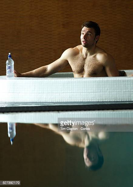 Vincent Clerc France during a recovery session in a hotel swimming complex Auckland in preparation for the IRB Rugby World Cup Final Auckland New...