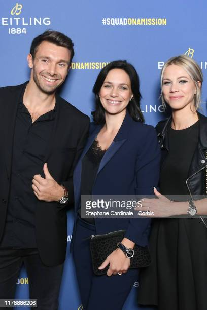 Vincent Clerc Nathalie Pechalat and Marion Rousse attend the Breitling 1884 flagship reopening party at 10 rue de la Paix on October 03 2019 in Paris...