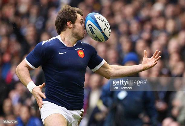 Vincent Clerc of France in action during the RBS Six Nations Championship match between Scotland and France at Murrayfield Stadium on February 7 2010...