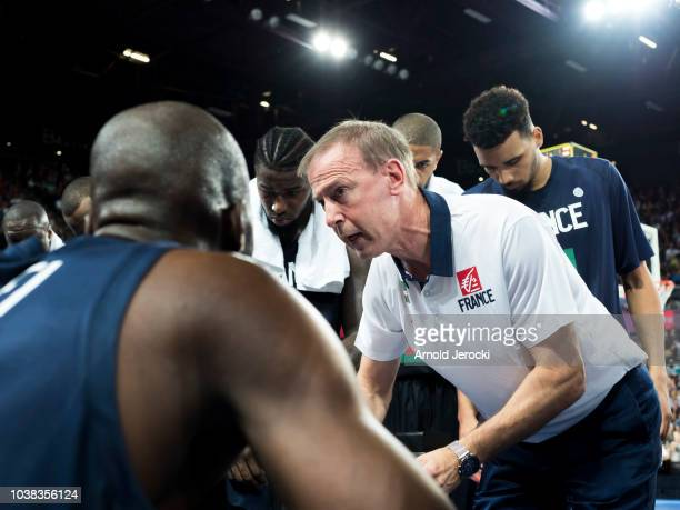 Vincent Collet French coach during the FIBA Basketball Wolrd cup 2019 qualifier match between France and Finland at the Sud de France Arena on...