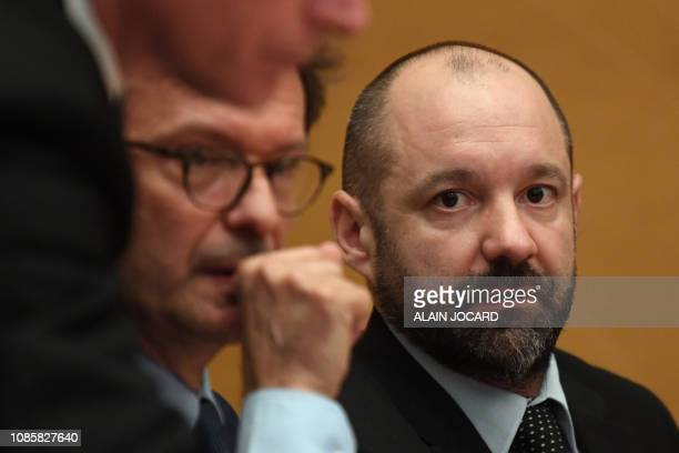 Vincent Crase a former security agent employed by the French President's centrist La Republique en Marche party looks on before a Senate committee in...