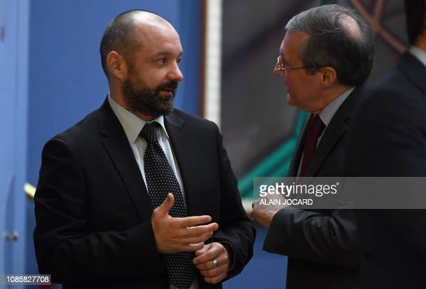 Vincent Crase a former security agent employed by the French President's centrist La Republique en Marche party speaks with Philippe Bas the...