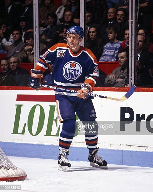Vincent Damphousse of the Edmonton Oilers skates against the Montreal Canadiens in 1991 at the Montreal Forum in Montreal Quebec Canada