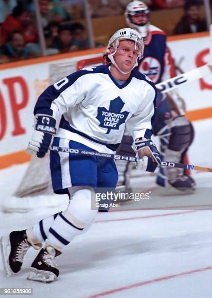 Vincent Damphousse of the Toronto Maple Leafs skates against the Winnipeg Jets during NHL game action October 14 1989 at Maple Leaf Gardens in...