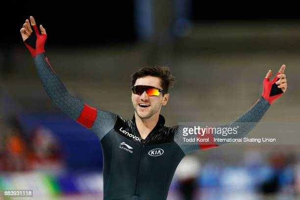 Vincent De Haitre of Canada celebrates after his team set the new world record in the men's team sprint race during the ISU World Cup Speed Skating...