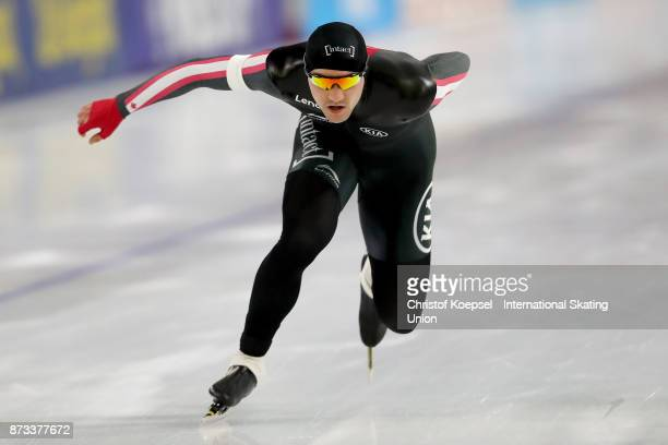 Vincent de Haitre of Canada competes during the men 1000m Division A race on Day Three during the ISU World Cup Speed Skating at the Thialf on...