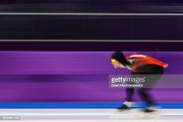 Vincent De Haitre of Canada competes during the Speed Skating Men's 1000m on day 14 of the PyeongChang 2018 Winter Olympic Games at Gangneung Oval on...