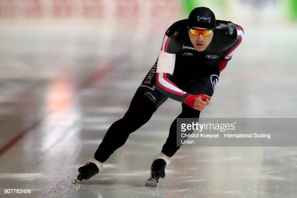 Vincent de Haitre of Canada competes in the 1000m Division A race during Day 2 of the ISU World Cup Speed Skating at GundaNiemannStirnemannHalle on...