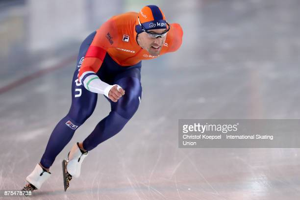 Vincent de Haitre of Canada competes in the men 1000m Division A race of Day 1 of the ISU World Cup Speed Skating at Soermarka Arena on November 17...