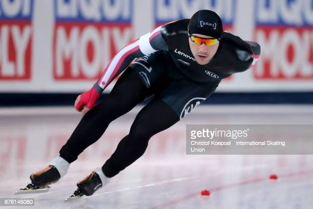 Vincent de Haitre of Canada competes in the men 1500m Division A race during Day 2 of the ISU World Cup Speed Skating at Soermarka Arena on November...