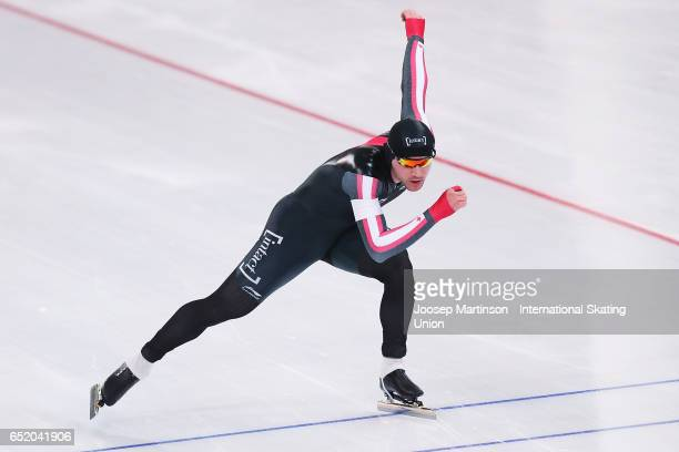 Vincent De Haitre of Canada competes in the Men's 1000m during day 1 of the ISU World Cup Speed Skating at Soermarka Arena on March 11 2017 in...